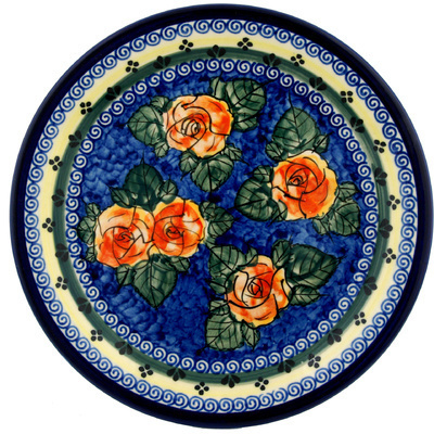 "Polish Pottery Plate 11"" Cabbage Roses"