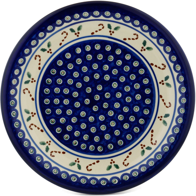 "Polish Pottery Plate 11"" Candy Cane Peacock"