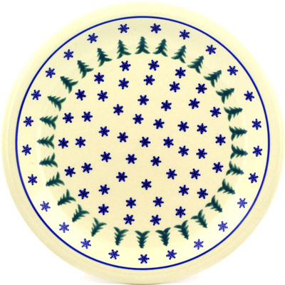 "Polish Pottery Plate 11"" Evergreen Snowflakes"