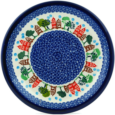 "Polish Pottery Plate 11"" In The Neighborhood"