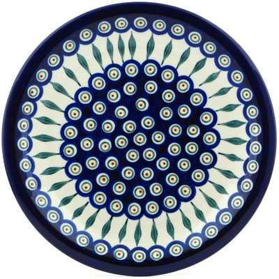 "Polish Pottery Plate 11"" Peacock Leaves"