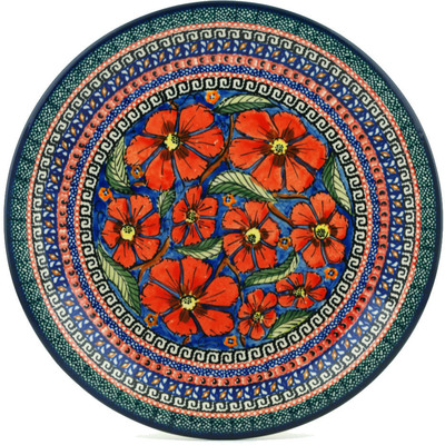 "Polish Pottery Plate 11"" Poppies UNIKAT"