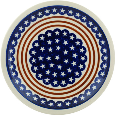 "Polish Pottery Plate 11"" Stars And Stripes Forever"