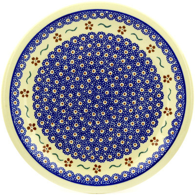 "Polish Pottery Plate 11"" Sweet Red Flower"