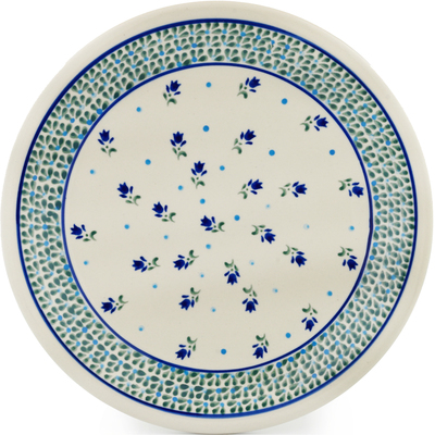 "Polish Pottery Plate 11"" Violet Tulips"