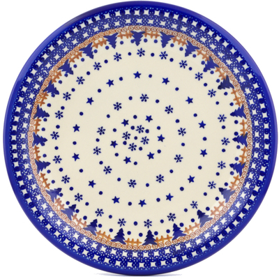 "Polish Pottery Plate 11"" Winter Snow"