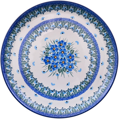 "Polish Pottery Plate 12"" Forget Me Not"