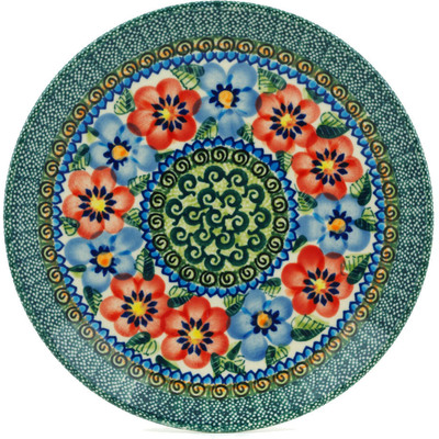 "Polish Pottery Plate 7"" Blue And Red Poppies UNIKAT"