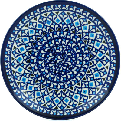 "Polish Pottery Plate 7"" Blue Diamond Dream"