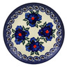 "Polish Pottery Plate 7"" Blueberries And Pansies UNIKAT"