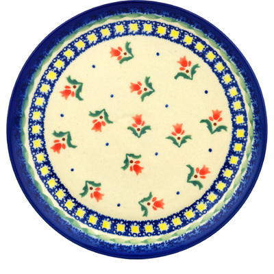 "Polish Pottery Plate 7"" Cocentric Tulips"