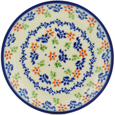 "Polish Pottery Plate 7"" Diamond Daisy"