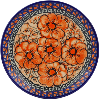 "Polish Pottery Plate 7"" Fire Poppies UNIKAT"