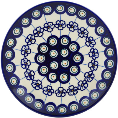 "Polish Pottery Plate 7"" Flowering Peacock"