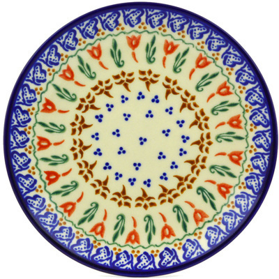 "Polish Pottery Plate 7"" Fluttering Tulips"