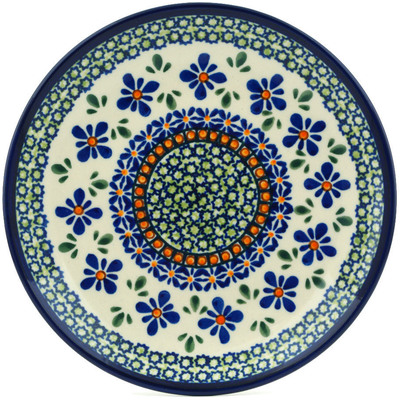 "Polish Pottery Plate 7"" Gingham Flowers"