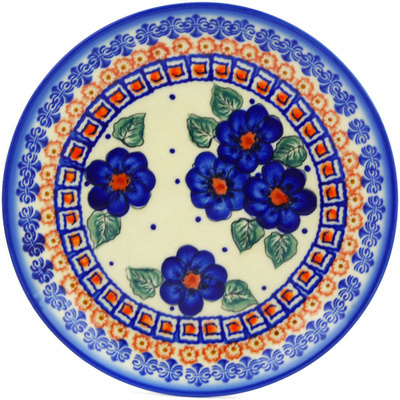 "Polish Pottery Plate 7"" Greek Poppies"