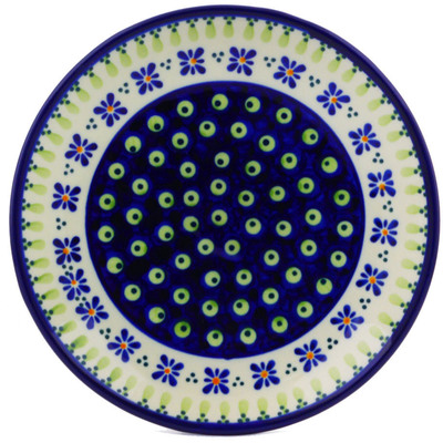 "Polish Pottery Plate 7"" Green Gingham Peacock"