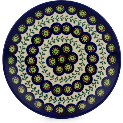 "Polish Pottery Plate 7"" Green Laurel Peacock"