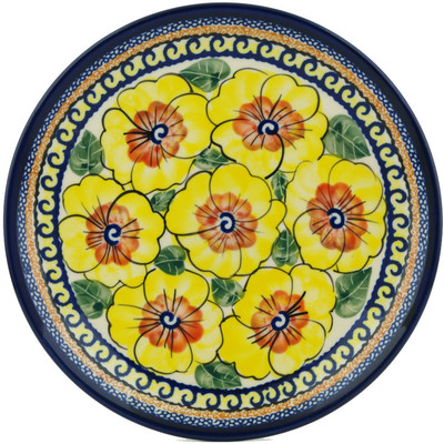 "Polish Pottery Plate 7"" Lemon Poppies UNIKAT"