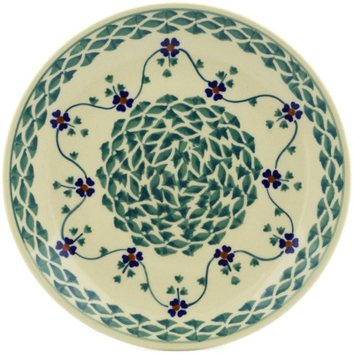"Polish Pottery Plate 7"" Lucky Blue Clover"
