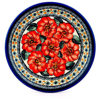 "Polish Pottery Plate 7"" Peach Poppies UNIKAT"