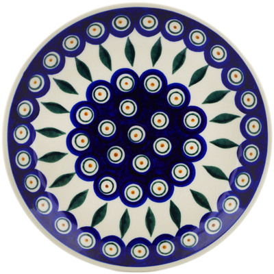 "Polish Pottery Plate 7"" Peacock"