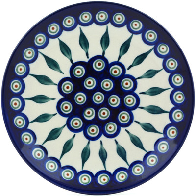 "Polish Pottery Plate 7"" Peacock Leaves"
