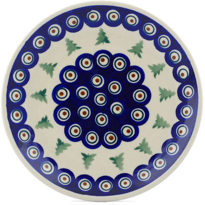 "Polish Pottery Plate 7"" Peacock Pines"