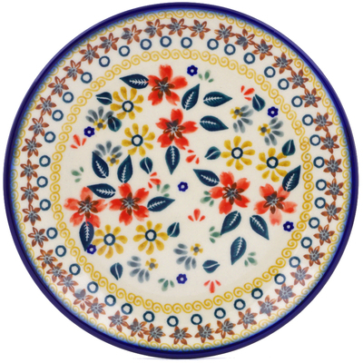 "Polish Pottery Plate 7"" Red Anemone Meadow UNIKAT"