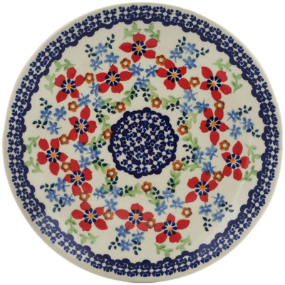 "Polish Pottery Plate 7"" Red Flower Meadow"