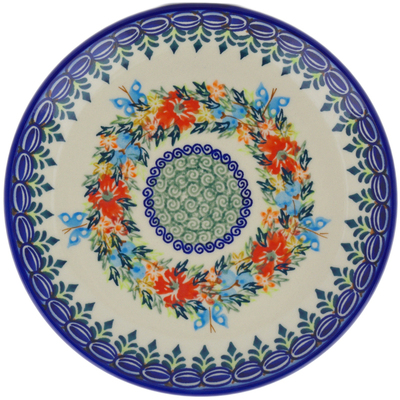 "Polish Pottery Plate 7"" Ring Of Flowers UNIKAT"