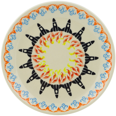 "Polish Pottery Plate 7"" Rocketship"