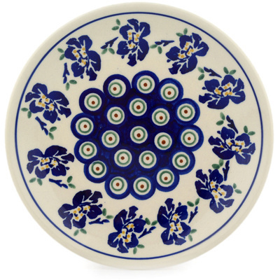 "Polish Pottery Plate 7"" Royal Iris Peacock"