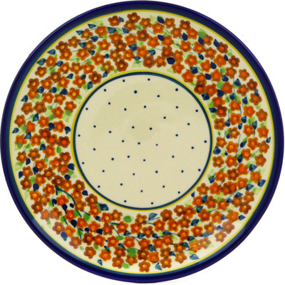 "Polish Pottery Plate 7"" Russett Floral"