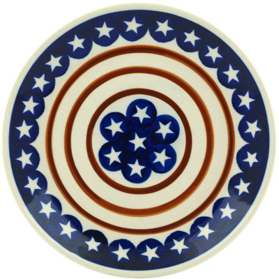 "Polish Pottery Plate 7"" Stars And Stripes Forever"