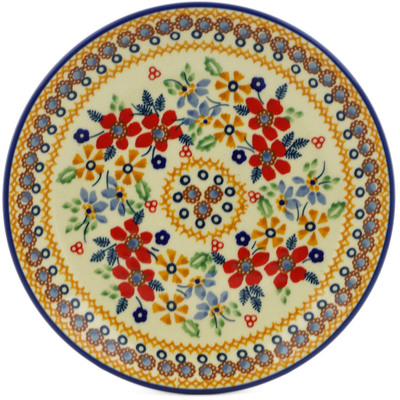 "Polish Pottery Plate 7"" Summer Bouquet UNIKAT"