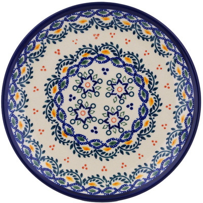 "Polish Pottery Plate 7"" Tatted Flower UNIKAT"