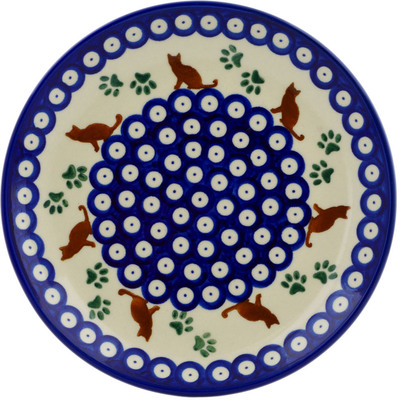 "Polish Pottery Plate 7"" Traditional Kitty"