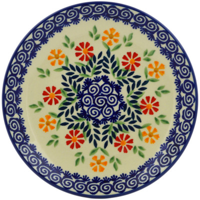 "Polish Pottery Plate 7"" Wave Of Flowers"