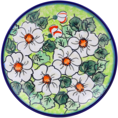 "Polish Pottery Plate 7"" White Flower Bouquet UNIKAT"