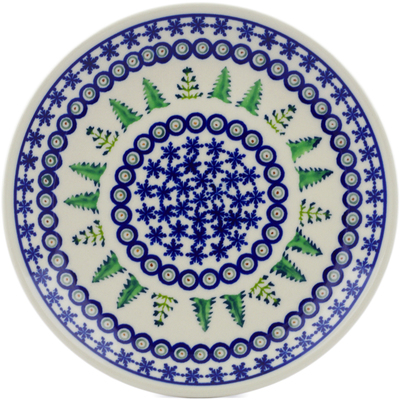 "Polish Pottery Plate 7"" Winter Ferns"