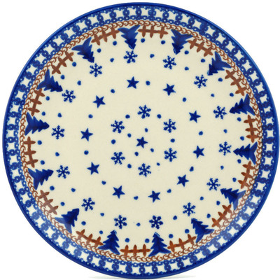"Polish Pottery Plate 7"" Winter Snow"