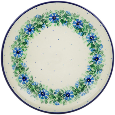 "Polish Pottery Plate 8"" Blue Bell Wreath"