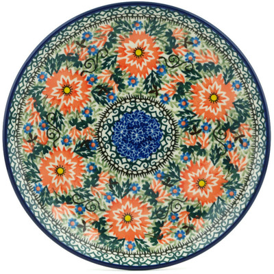 "Polish Pottery Plate 8"" Intrepid Dahlia UNIKAT"