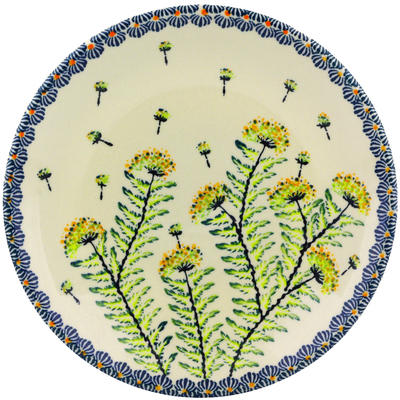 "Polish Pottery Plate 8"" Yellow Dandelions"