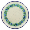 "Polish Pottery Plate 9"" Blue Bell Wreath"
