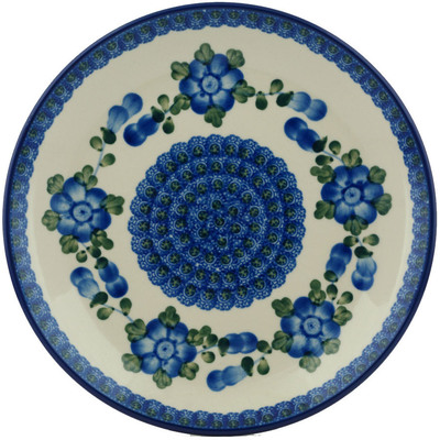 "Polish Pottery Plate 9"" Blue Poppies"