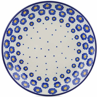 "Polish Pottery Plate 9"" Blue Zinnia"