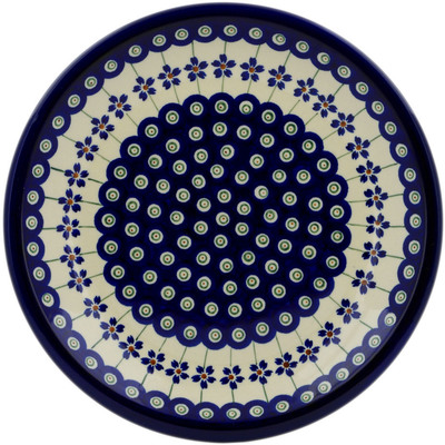 "Polish Pottery Plate 9"" Flowering Peacock"